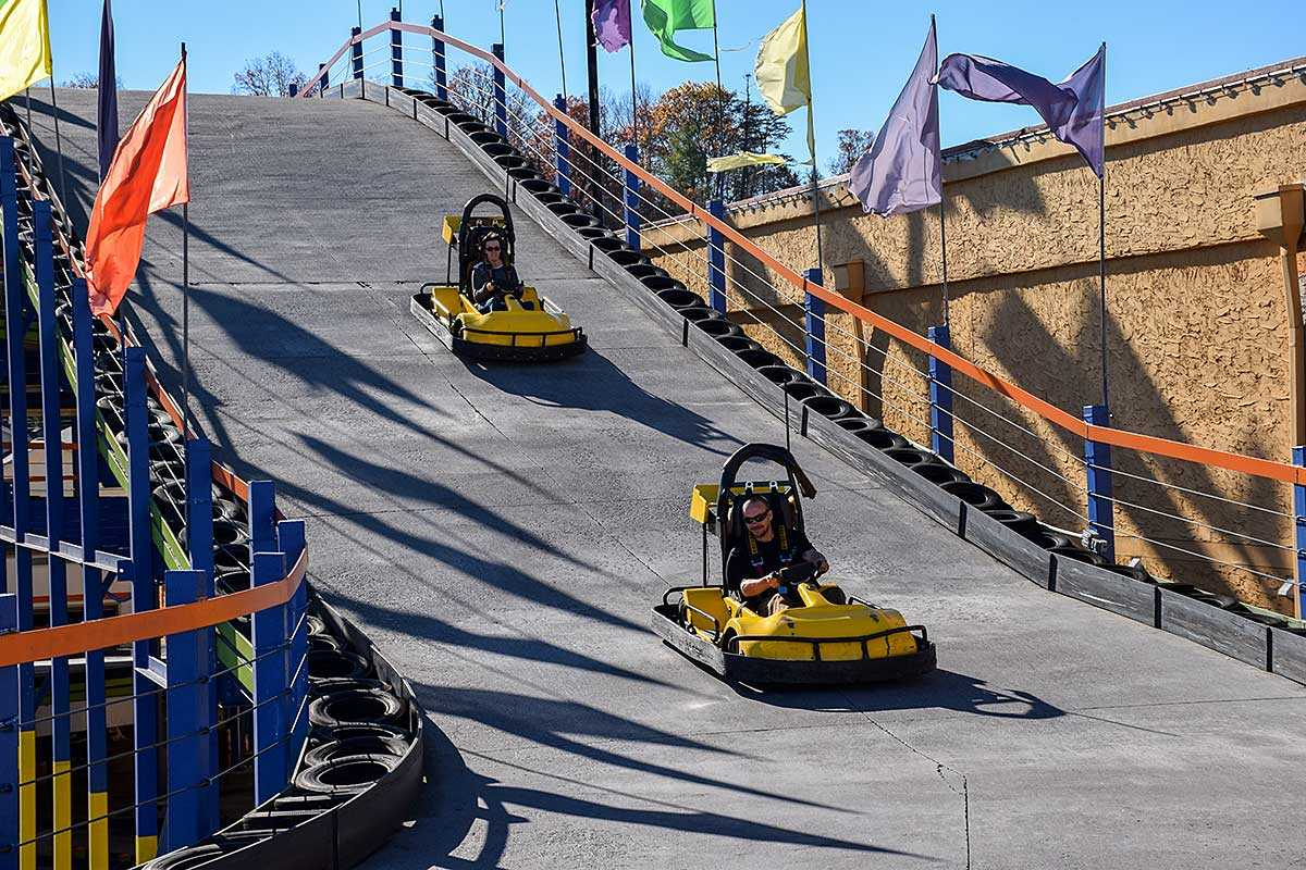 Riding go-carts in Pigeon Forge, TN