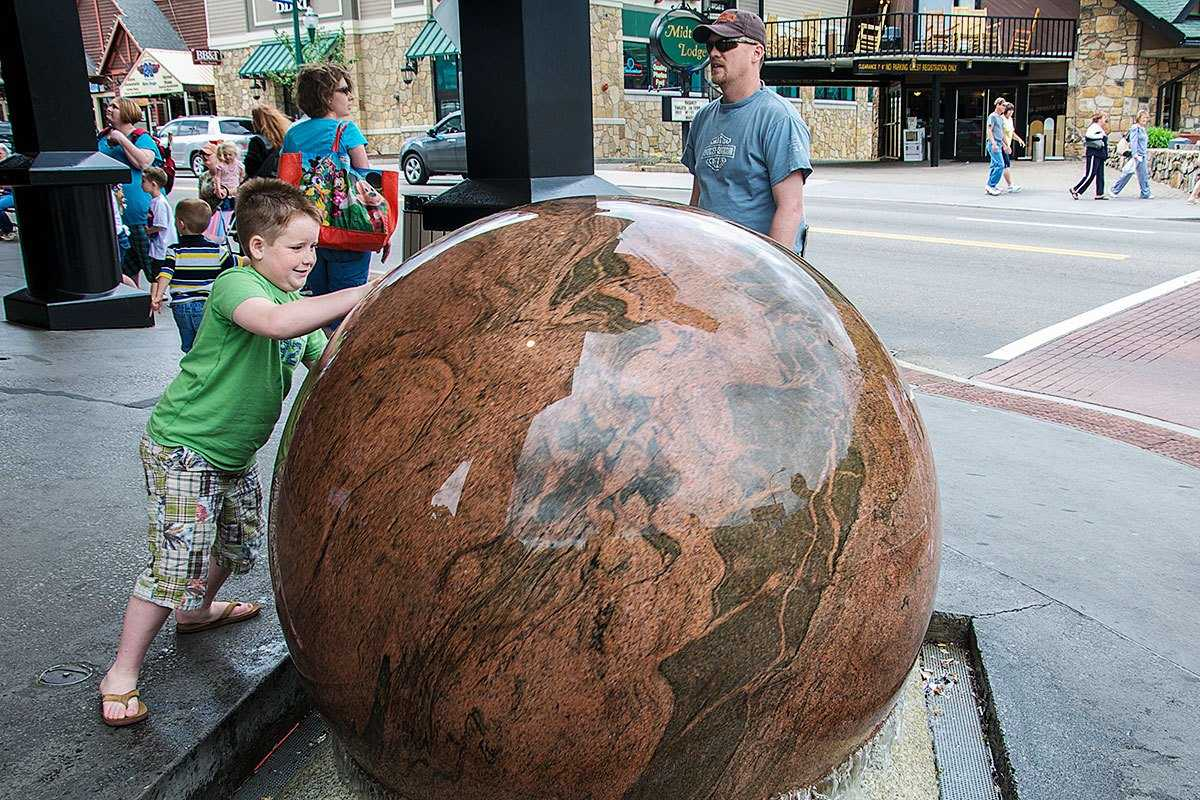 Large marble ball outside of Ripley's Believe It Or Not