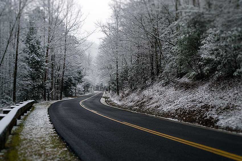 Snow on the road in National Park