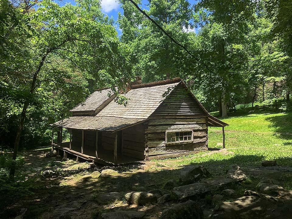 Noah Bud Ogle log cabin on the Motor Nature Trail in Gatlinburg.