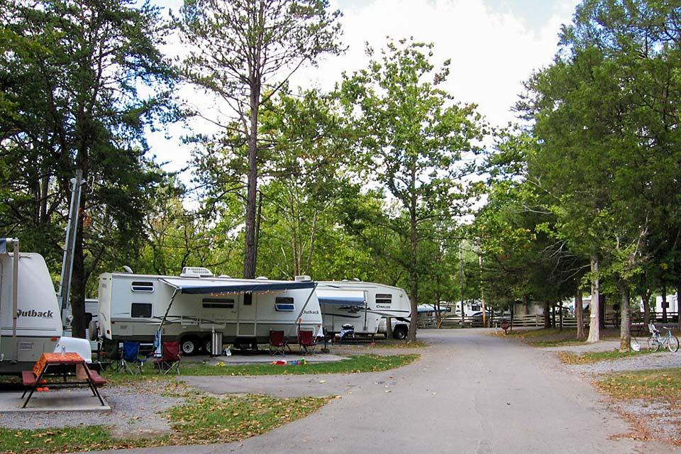 Claboughs Campground offers shade from mature hardwood trees.