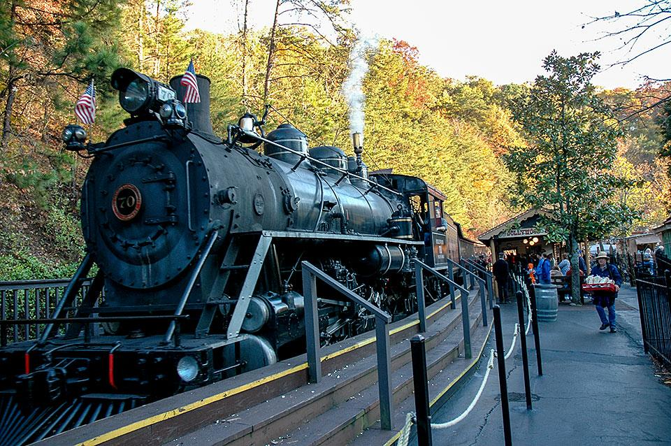 Dollywood Train Steam Engine about to Depart
