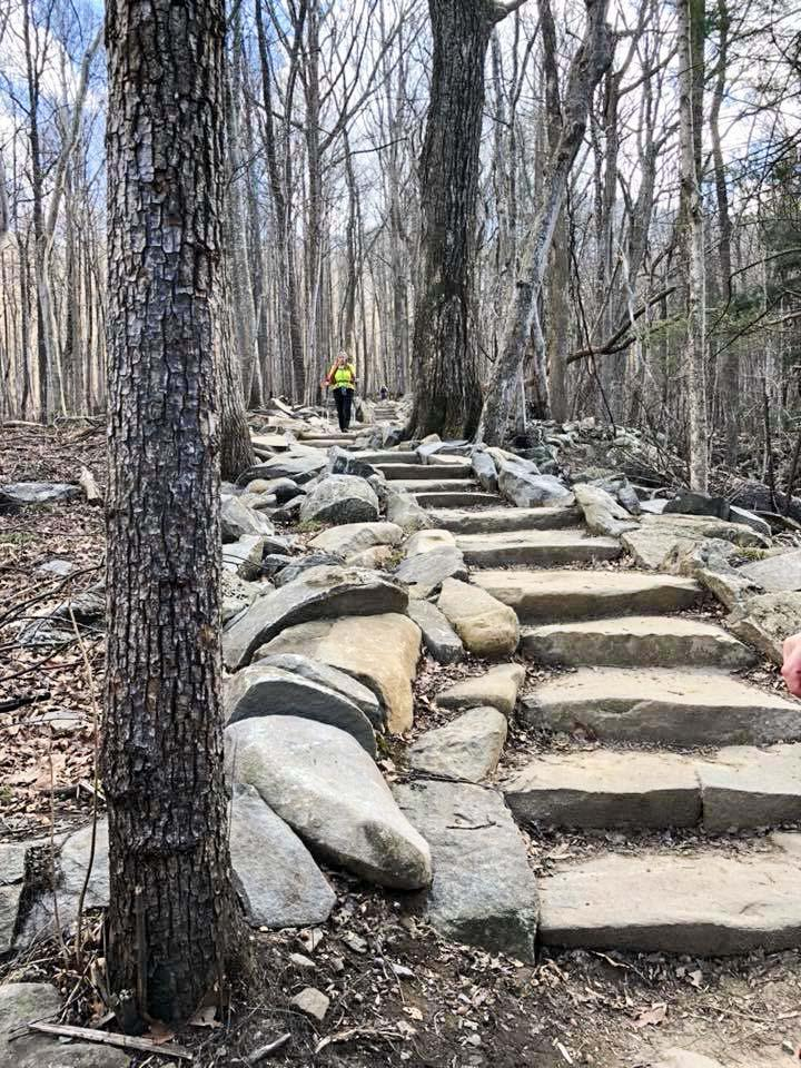 Cut-stone stairs on Rainbow Falls Hiking Trail