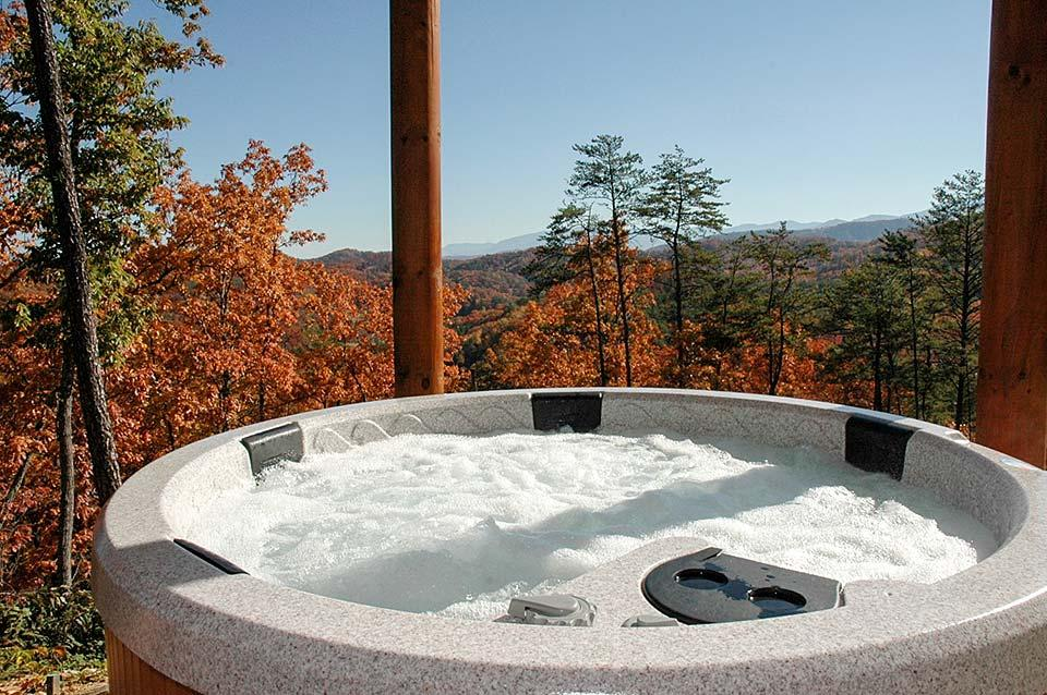 Warm hot tub water in cool weather