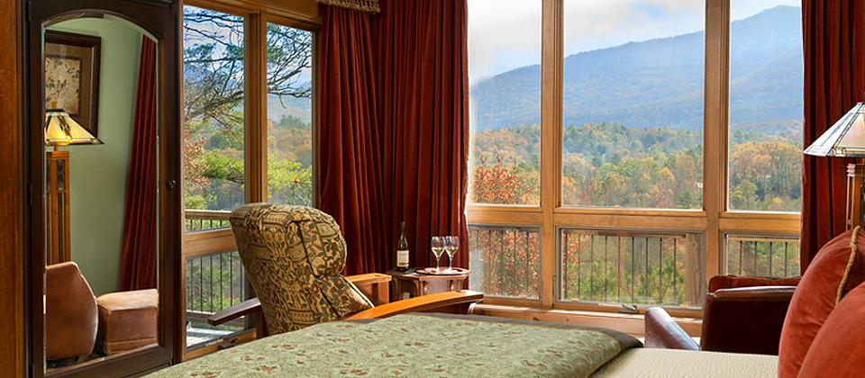 Richmont Inn bedroom with mountain views