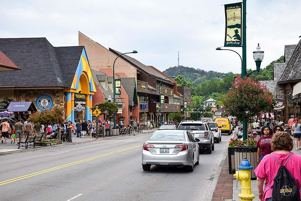 Take a walk in downtown Gatlinburg, Tennessee.