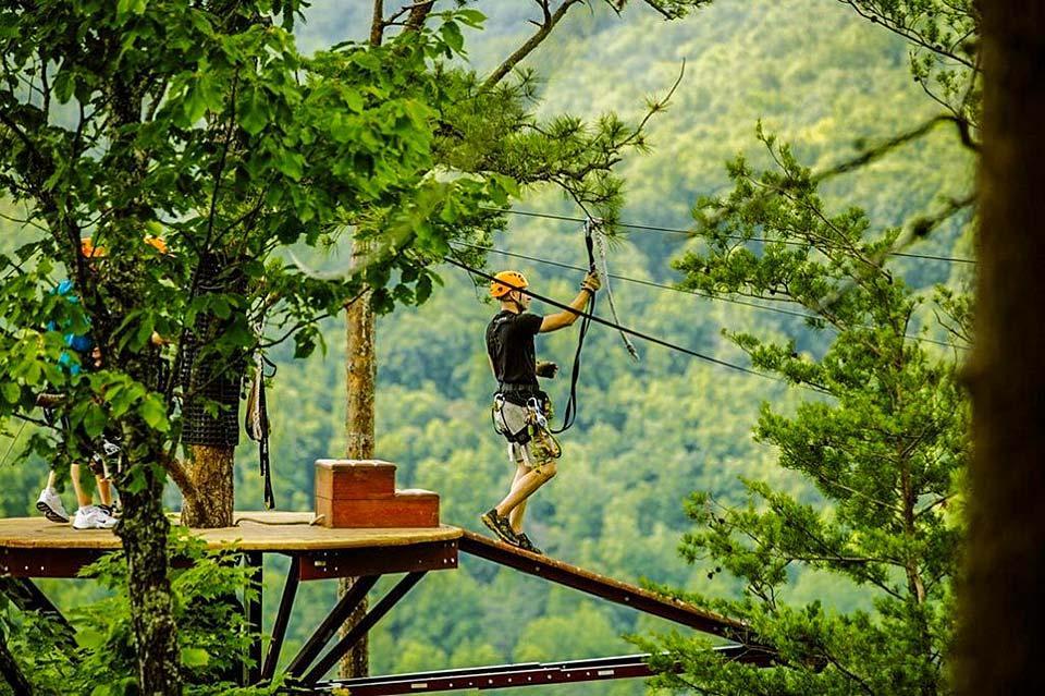 Zip line in the mountains-the Smoky Mountains.