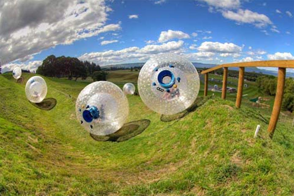 Downhill zorbing at Outdoor Gravity Park